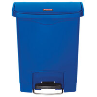 Rubbermaid 1883591 Slim Jim Resin Blue Front Step-On Trash Can - 8 Gallon