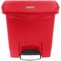 Rubbermaid 1883563 Slim Jim Resin Red Front Step-On Trash Can - 4 Gallon