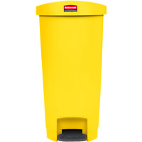 Rubbermaid 1883576 Slim Jim Resin Yellow End Step-On Trash Can with Rigid Plastic Liner - 13 Gallon