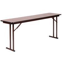 Correll ST1860PX 18 inch x 60 inch Walnut 3/4 inch High-Pressure Folding Seminar Table