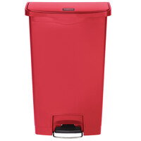Rubbermaid 1883568 Slim Jim Resin Red Front Step-On Trash Can - 18 Gallon