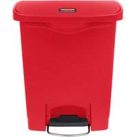Rubbermaid 1883564 Slim Jim Resin Red Front Step-On Trash Can - 8 Gallon