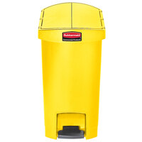 Rubbermaid 1883574 Slim Jim Resin Yellow End Step-On Trash Can with Rigid Plastic Liner - 8 Gallon