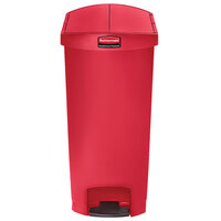 Rubbermaid 1883571 Slim Jim Resin Red End Step-On Trash Can with Rigid Plastic Liner - 24 Gallon