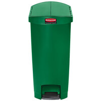 Rubbermaid 1883585 Slim Jim Resin Green End Step-On Trash Can with Rigid Plastic Liner - 13 Gallon
