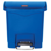Rubbermaid 1883590 Slim Jim Resin Blue Front Step-On Trash Can - 4 Gallon