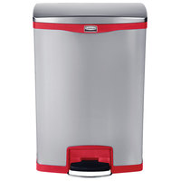 Rubbermaid 1902002 Slim Jim Stainless Steel Red Accent Front Step-On Trash Can with Single Rigid Plastic Liner - 24 Gallon