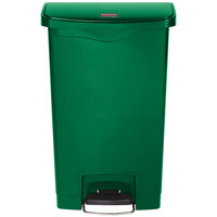 Rubbermaid 1883584 Slim Jim Resin Green Front Step-On Trash Can - 13 Gallon