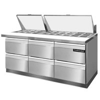 Continental Refrigerator SW72-30M-FB-D 72 inch Mighty Top Front Breathing Sandwich Prep Refrigerator with Six Drawers