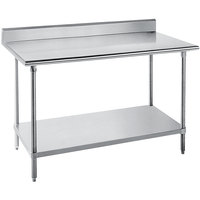 "Advance Tabco SKG-245 24"" x 60"" 16 Gauge Super Saver Stainless Steel Commercial Work Table with Undershelf and 5"" Backsplash"