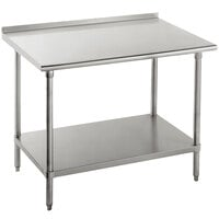 Advance Tabco SFG-303 30 inch x 36 inch 16 Gauge Stainless Steel Commercial Work Table with Undershelf and 1 1/2 inch Backsplash
