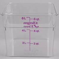 Cambro 6SFSCW441 CamSquare 6 Qt. Allergen Free Purple Food Storage Container
