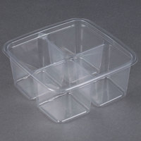 Fabri-Kal Greenware GS6-4 4-Compartment Clear PLA Plastic Compostable Container - 50 / Pack