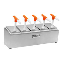 Cecilware 544G Giant Pumps Stainless Steel Condiment Rail with Five Plastic Pumps, Jars, and Covers