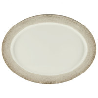 Thunder Group SD2121J Jazz 21 inch x 15 inch Oval Melamine Platter with Crackle-Finished Border