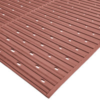 Cactus Mat 1631R-T3V Ni-Rib 3' x 60' Terra Cotta Perforated Nitrile Rubber Runner Mat Roll - 1/4 inch Thick