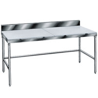 Advance Tabco TSPS-246 Poly Top Work Table 24 inch x 72 inch with 6 inch Backsplash - Open Base