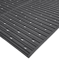 Cactus Mat 1631R-C4V Ni-Rib 4' x 60' Black Perforated Nitrile Rubber Runner Mat Roll - 1/4 inch Thick