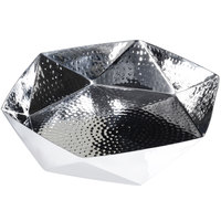 Eastern Tabletop 9381 10 inch Hammered Stainless Steel Geometric Bowl