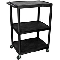 Luxor / H. Wilson LP48E-B 3 Shelf A/V Cart 32 inch x 24 inch x 48 1/4 inch