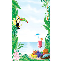 8 1/2 inch x 14 inch Menu Paper - Tropical Themed Toucan Design Cover - 100/Pack