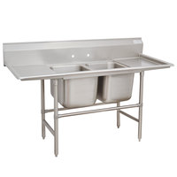 Advance Tabco 94-62-36-24RL Spec Line Two Compartment Pot Sink with Two Drainboards - 89 inch
