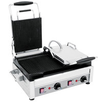 Eurodib SFE02375 18 inch Double Panini Grill with Smooth Left Plates and Grooved Right Plates - 220V, 2900W
