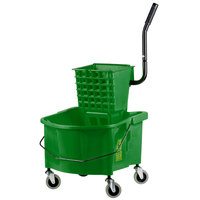 Continental 226-312GN 26 Qt. Green Splash Guard Mop Bucket with Side-Press Wringer