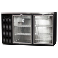 Continental Refrigerator BBC59S-GD 59 inch Black Shallow Depth Glass Door Back Bar Refrigerator