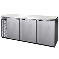 Continental Refrigerator BBC90S-SS 90 inch Stainless Steel Shallow Depth Solid Door Back Bar Refrigerator