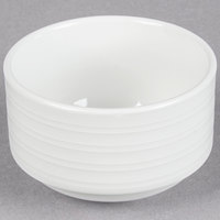 Tuxton FPB-090 Pacifica 9 oz. Bright White Embossed Stackable China Bouillon Cup - 36/Case