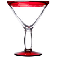Libbey 92305R Aruba 10 oz. Cocktail Glass with Red Rim and Base - 12/Case