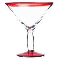 Libbey 92307R Aruba 24 oz. Cocktail Glass with Red Rim and Base - 12/Case
