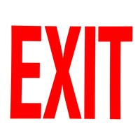 Buckeye 12 inch x 8 inch Red and White Glow-In-The-Dark Exit Sign Adhesive Label