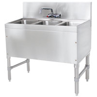 Advance Tabco PRB-19-33C 3 Compartment Prestige Series Underbar Sink with Splash Mount Faucet - 20 inch x 36 inch