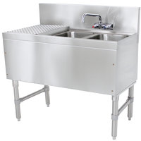 Advance Tabco PRB-19-32R 2 Compartment Prestige Series Underbar Sink with (1) 11 inch Drainboard and Splash Mount Faucet - 20 inch x 36 inch (Right Side Sink)