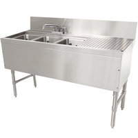 Advance Tabco PRB-24-43L 3 Compartment Prestige Series Underbar Sink with (1) 11 inch Drainboard and Deck Mount Faucet - 25 inch x 48 inch (Left Side Sink)