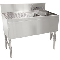 Advance Tabco PRB-24-42R 2 Compartment Prestige Series Underbar Sink with (1) 23 inch Drainboard and Deck Mount Faucet - 25 inch x 48 inch (Right Side Sink)