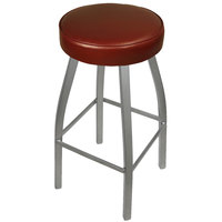 BFM Seating 2520BBUV-SV Kyle Silver Metal Barstool with Padded Burgundy Vinyl Swivel Seat