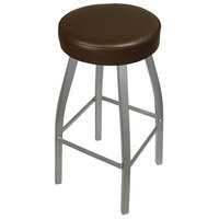 BFM Seating 2520BDBV-SV Kyle Silver Metal Barstool with Padded Dark Brown Vinyl Swivel Seat