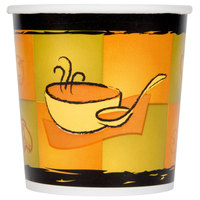 Huhtamaki Chinet 71851 16 oz. Double-Wall Poly Paper Soup / Hot Food Cup with Vented Paper Lid and Streetside Design - 250 / Case