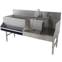 Advance Tabco PRU-19-60L Prestige Series Stainless Steel Uni-Serv Speed Bar - 60 inch x 25 inch (Left Side Ice Bin)