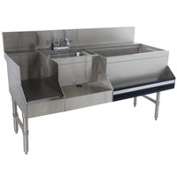 Advance Tabco PRU-24-60R Prestige Series Stainless Steel Uni-Serv Speed Bar - 60 inch x 30 inch (Right Side Ice Bin)