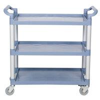 Three Shelf Utility Cart / Bus Cart - Gray, 40 1/2 inch x 19 11/16 inch x 37 13/16 inch