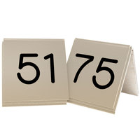 Cal-Mil 269C-11 Gold Engraved Number Tent Sign Set 51-75 - 3 inch x 3 inch