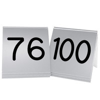 Cal-Mil 269D-10 Silver Engraved Number Tent Sign Set 76-100 - 3 inch x 3 inch