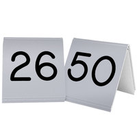 Cal-Mil 269B-10 Silver Engraved Number Tent Sign Set 26-50 - 3 inch x 3 inch