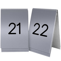 Cal-Mil 271-10 Silver Replacement Engraved Number Tent Sign - 3 1/2 inch x 5 inch