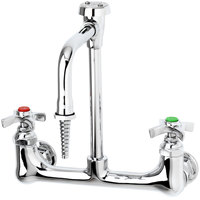 T&S BL-5725-08 Wall Mounted Lab Single Sink Faucet with 8 inch Centers and Vacuum Breaker