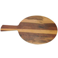 Elite Global Solutions M7RW Fo Bwa 7 inch Round Faux Hickory Wood Serving Board with Handle